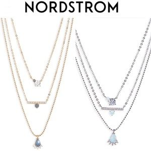 NORDSTROM Stone Crystal Layered Pendant Necklace